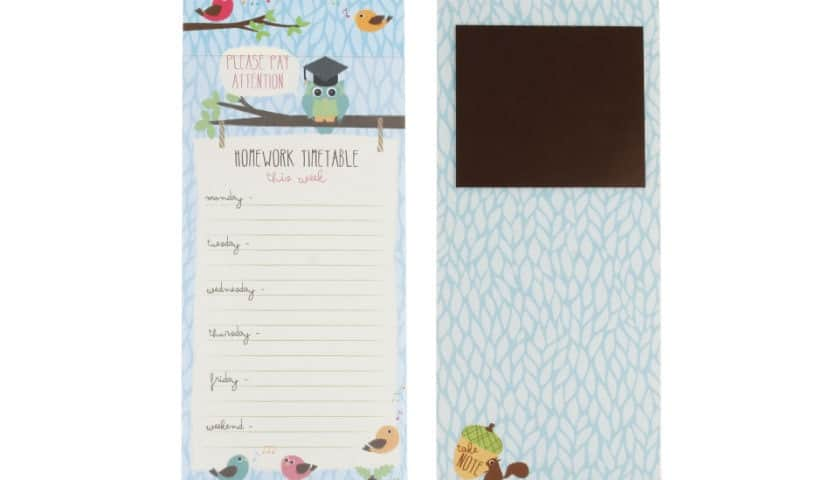 Homework Timetable Magnetic Paper Notepad