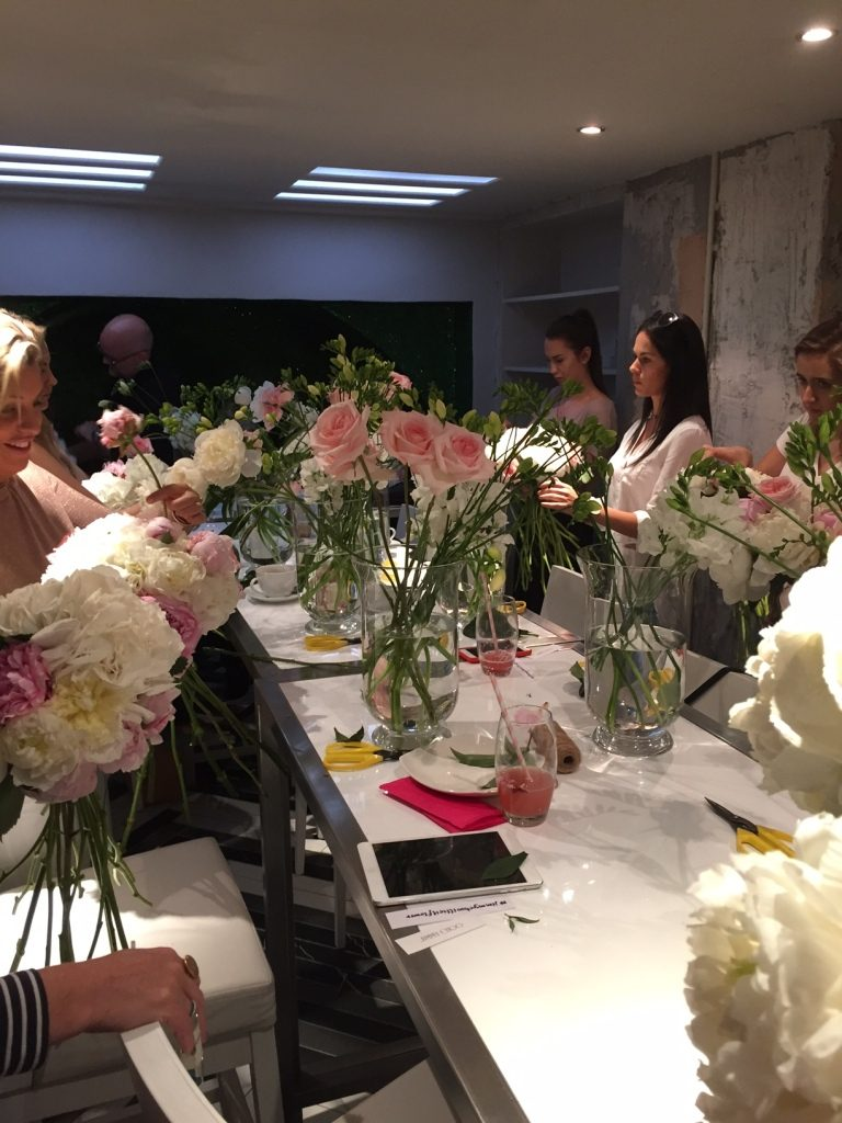 Flower arranging with Jimmy Choo for the launch of Illicit Flower