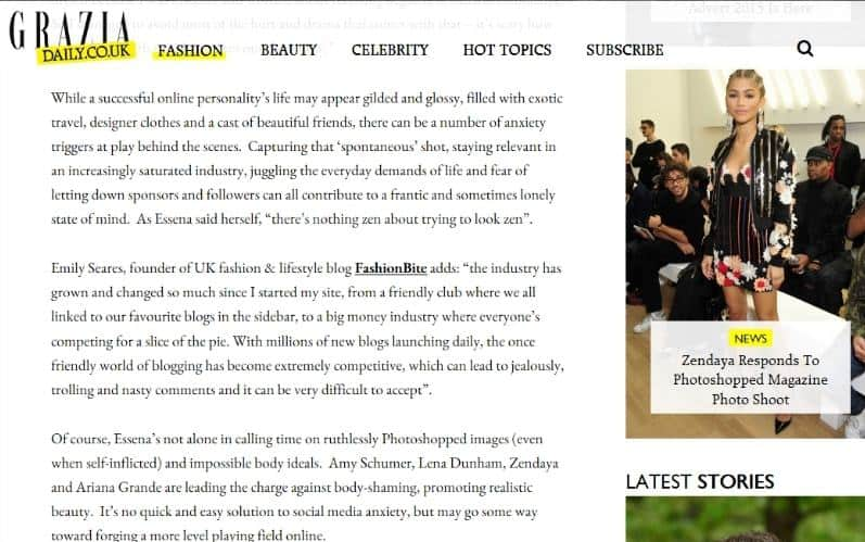 Grazia daily, FashionBite