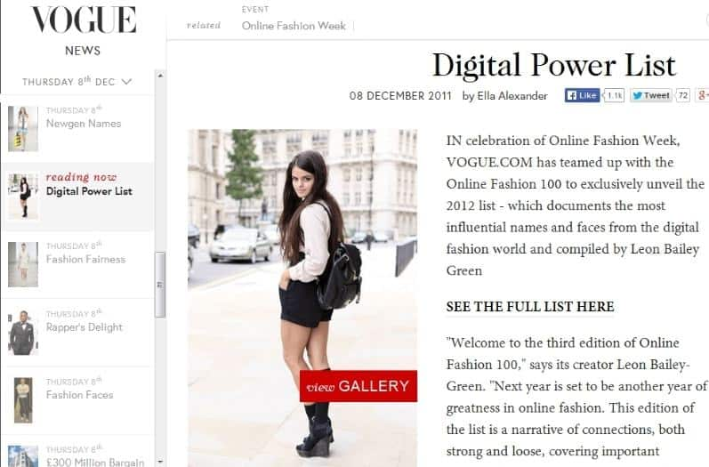 Vogue digital powerlist, 1