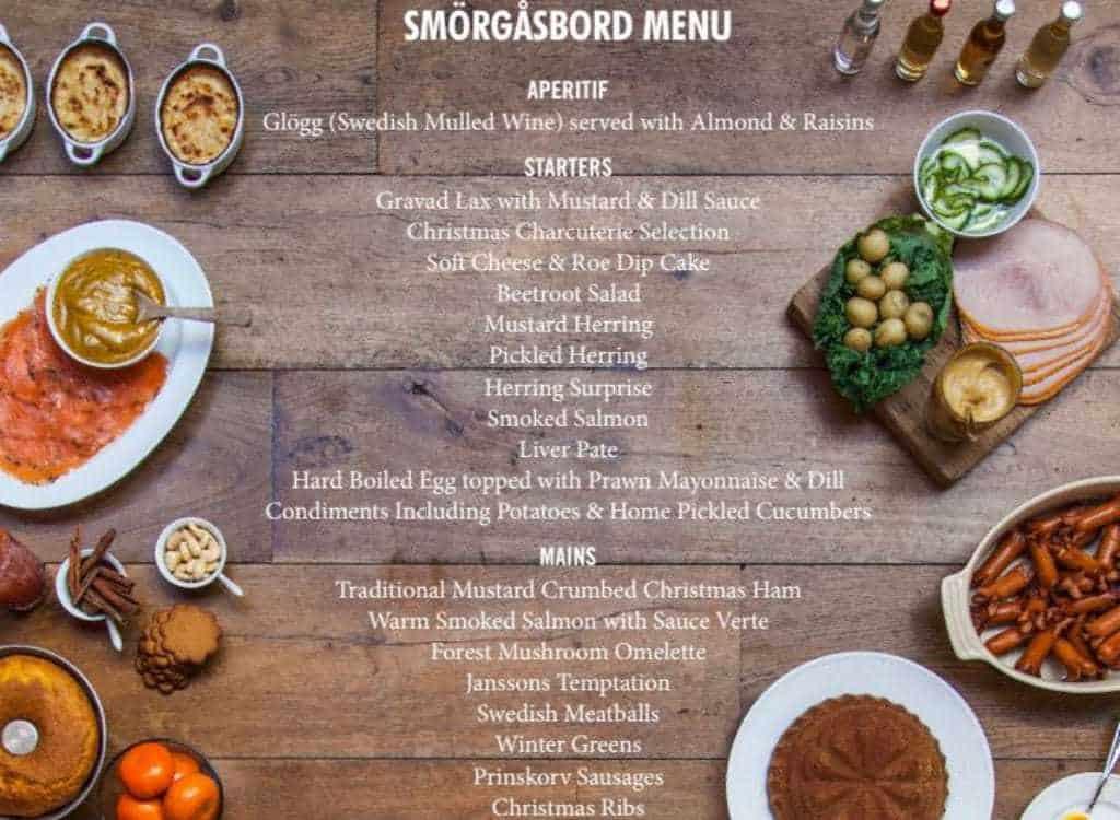 smorgasbvord menu