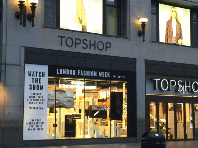 Topshop windows for LFW Aw16