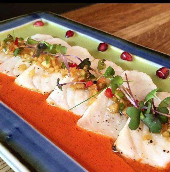 seared butterfish sashimi hot stone