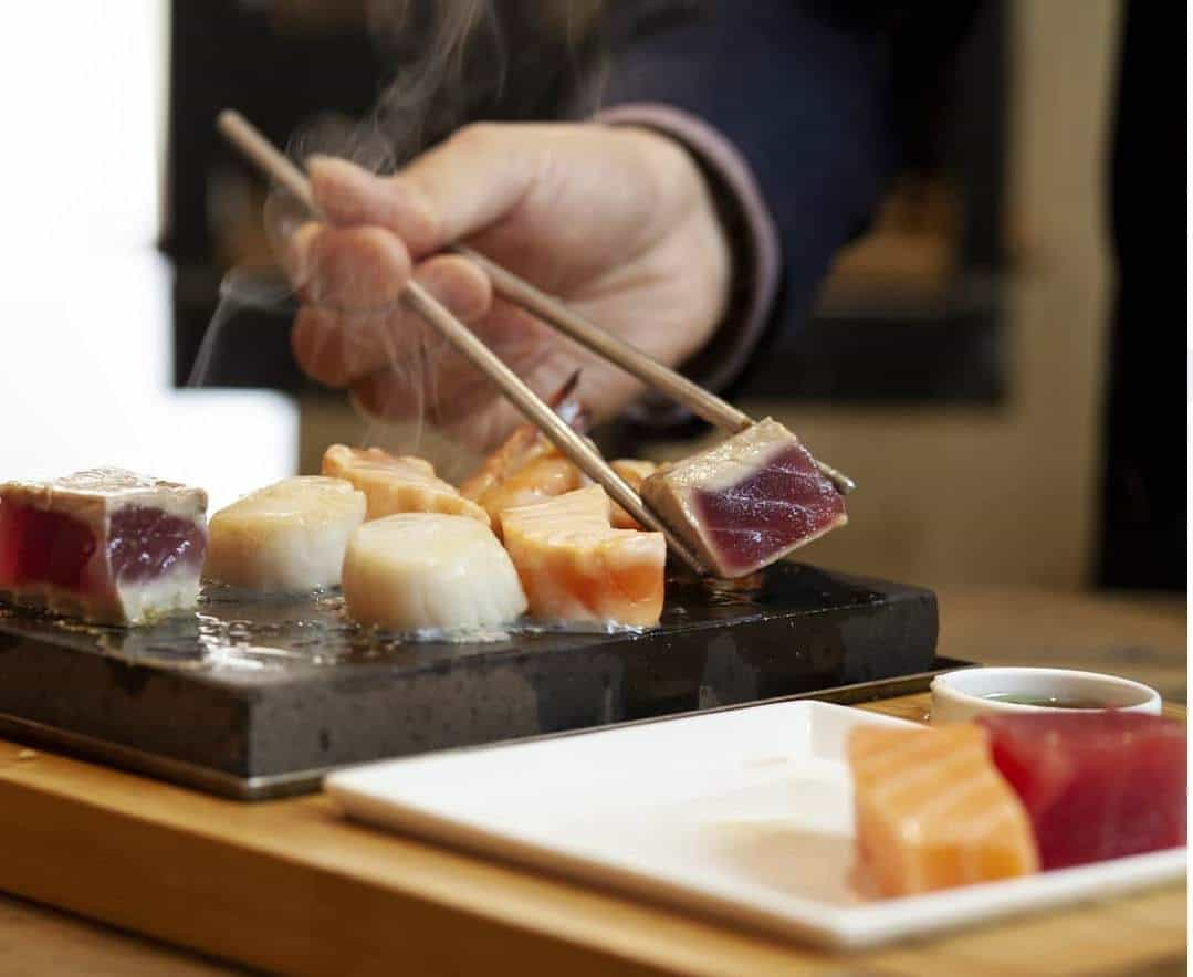 steak sushi hot stone