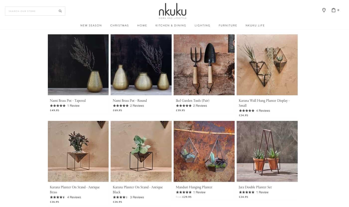 House planters and pots at Nkuku